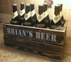 Wooden handmade personalised beer crate. Cute gift idea. Pack it with beer from 99 Bottles.
