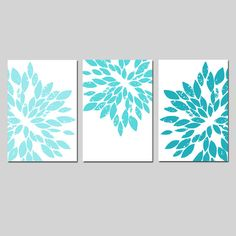 Modern Abstract Painterly Floral  Set of Three Large by Tessyla, $65.00