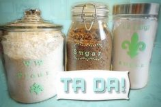 stenciled glass canisters, Martha Stewart stencils and paints