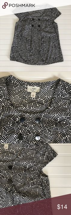LOFT Button Detail Top SzSmP Cutest 4 button detail at neckline Cap sleeves Fun black/white cotton fabric Pit to pit laid flat: 17 inches, 34 inches around Top is 22 inches long.  Excellent like new condition Freshly washed  101702 LOFT Tops