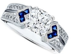 Engagement Ring - Cushion Diamond Engagement Ring Trio Blue Sapphire double diamond band in 14K White Gold - ES1152CUWG