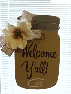 Mason Jar Wooden Door Hanger  by ABsoutherndesigns on Etsy, $35.00