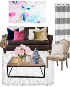 Birch Grove Interiors, Navy and pink decor, Navy blue pillow, pink pillow, gold sequin pillow, pink peonies, grey striped curtains, pink floral wall art, white shag rug