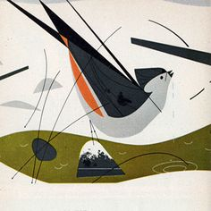 Charley Harper - Ford times - Tufted Titmouse