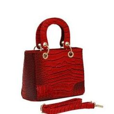 Red Croc Print Fashion Purse