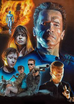 """Terminator """"Judgment Day"""" Movie Poster Painting (Acrylic and pencils on board)Part of a serie for the 2016 Exhibition """"The Real Art of Movie Posters"""" Sci Fi Movies, Action Movies, Good Movies, Horror Movies, Terminator Movies, Image Film, Culture Pop, Kino Film, Movie Poster Art"""