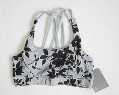 NWT Gap Fit Sports Bra Gray Black Floral Print Removable Support Cups Size S M L #Gap #SportsBrasBraTops