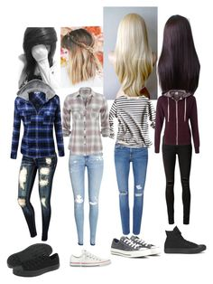 """Me, Sarah, Sydnie, and Summer."" by retalleyation ❤ liked on Polyvore featuring rag & bone/JEAN, Frame Denim, H&M and Converse"