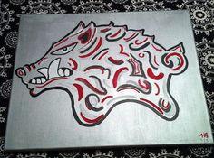 Handpainted Arkansas Razorbacks Canvas Art  16x20 by 613ArtWork, $40.00