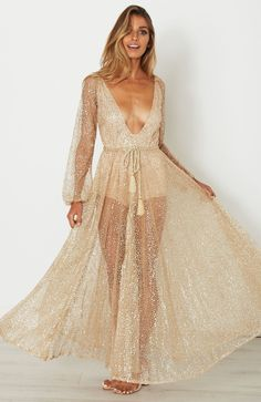 2017 New Long Maxi Women Dress Sequined Fringed Party Dress Women Sexy Deep V-Neck Slit Perspective Evening Vestidos Female Look Boho Chic, Indie, Deep V Neck Dress, Transparent Dress, Sequin Maxi, Long Summer Dresses, Different Dresses, Gold Dress, Elegant Dresses