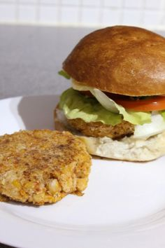 Chickpea burgers. Wonder if the boyfriend would be willing to try these...?
