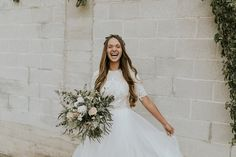 Modest wedding dress with elbow sleeves from alta moda. -- (modest bridal gown) . Photo by Amber Lindhardt.