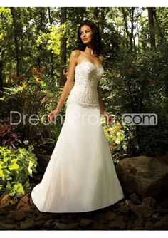 Gorgeous A-line Sweetheart Floor-length Chapel Lace Trimmed Wedding Dresses WD-1111