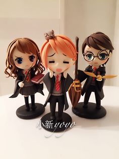 哈利波特三人组 Harry Potter Hermione Granger Ron Weasley Polymer Clay chibi nendoroid kawaii cheebs super deformed