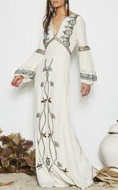 Embroidered sophia gown by FIGUE for Preorder on Moda Operandi