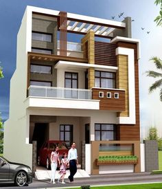 Stunning Modern House Design Ideas 3 Storey House Design, Bungalow House Design, Small House Design, Modern House Design, 20x40 House Plans, Front Wall Design, House Architecture Styles, Indian House Plans, Townhouse Designs