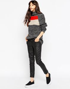 Image 4 of ASOS Sweater in Color Block with High Neck