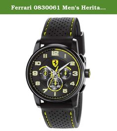 da2ba7ad888 Great sale information Online Ferrari Heritage Chronograph Black and Yellow  Dial Black Silicone Mens Watch 830061