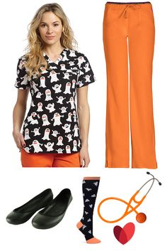 Halloween themed scrub outfit inspiration by allheart featuring: Scrub top - White Cross Women's Crossover V-Neck Halloween Print / Scrub pant (orange) - heartsoul Women's Heart Breaker Low Rise / Shoe- Natural Uniforms Women's Ultralite Fashion Slip-On / Sock- Nurse Mates Women's 12-14mmhg Compression Halloween Print / Stethoscope (orange) - UltraScope Pressure Sensitive