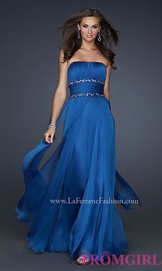 Elegant Strapless Evening Gown by La Femme at PromGirl.com