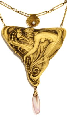 Art Nouveau gold and pearl necklace, circa depicting a nymph, a seahorse, and a shell holding a seed pearl Jewelry Crafts, Jewelry Art, Jewelry Design, Jewelry Holder, Gold Jewellery, Victorian Jewelry, Antique Jewelry, Vintage Jewelry, Bijoux Art Nouveau