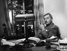 size: Premium Photographic Print: Novelist and Script Writer William Faulkner Smoking a Pipe at His Desk at Warner Brothers Studios : Subjects William Faulkner, Writers And Poets, Writers Write, Louisa May Alcott, Charlotte Bronte, Author Quotes, Iconic Photos, Before Us, Life Magazine