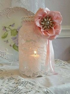 Shabby Chic Mason Jar Candle Holder.                                                                                                                                                                                 More