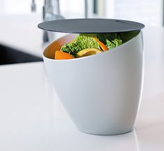 Buy the Counter Top Compact Compost Bin, Silver with Black Lid from Rosti Mepal today! A part of our Cupboard & Drawer Organisers range. Kitchen Compost Bin, Home Organisation, Organization, Peeling, Fruit And Veg, Kitchen Countertops, Serving Bowls, Sweet Home, New Homes