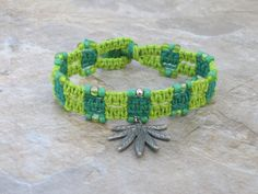 Green Leaf Charm Hemp Bracelet by Jenstylehemp on Etsy