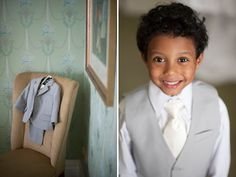 Adorable wedding ring bearer in a gray suit. Photos by Justin and Mary Marantz