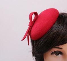Wool Felt Mini HatButtonFelt FascinatorRed by kagikagi on Etsy