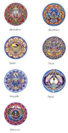 Set of 7 Chakra Mandala Art Prints Seven Chakras by LindyLonghurst