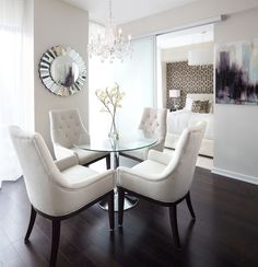 Small apartment design dining room contemporary with crystal chandelier modern barn door round glass table