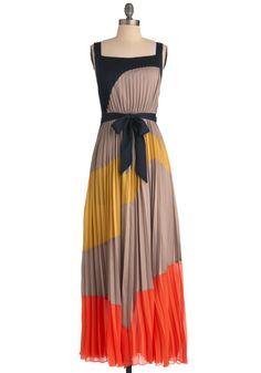 Drifting Dunes Dress - Long, Orange, Yellow, Black, Color Block, Pleats, Maxi, Tank top (2 thick straps), Tan / Cream, Party