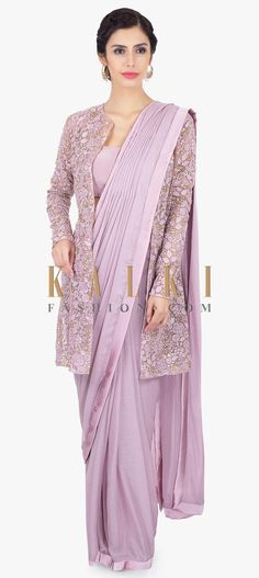 Lavender shimmer chiffon pre stitched saree with crepe border. Comes with a satin georgette strap blouse . Chiffon Saree, Saree Gown, Satin Saree, Chiffon Blouses, Saree Jacket Designs, Saree Blouse Neck Designs, Net Saree Designs, Saree Draping Styles, Saree Styles