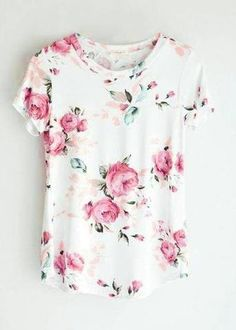 Fashion Teenage Round Neckline Little Floral Print Top