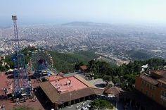 Tibidabo, Spain - the view over Barcelona towards the sea