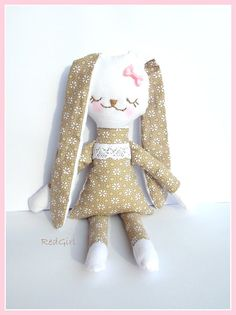 Bunny Rag Doll flower Rabbit hand embroidery by RedGirlDesign, $30.00