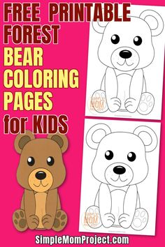Are you looking for an easy, DiY forest themed coloring page to occupy those rainy days? Here's a cute and free printable forest bear coloring page which is ideal for preschoolers, kindergarteners or even big kids. Woodland animal coloring pages are a fun way to learn about all the animals in our forests. Click here and surprise your kids with this cute coloring page today! #bearcoloringpages #forestanimalcoloringpages #woodlandanimalcoloringpages #forestbearcoloringpages