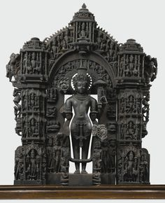 An Exceptional and Highly Important Black Stone Vaishnavite Stele Height: 38 1/2  in. (97.8 cm) India, Rajasthan, 11th/12th century