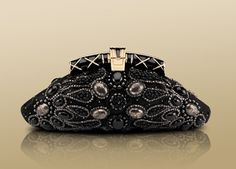 Pochette in black satin embroidered with multifaceted glasses. Small size. # Bvlgari Jewellery