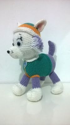 Amigurumi from the character of the canine patrol Everest, size 30 cm approx. Crochet Kids Hats, Crochet Amigurumi Free Patterns, Crochet Animals, Crochet Panda, Crochet Teddy, Crochet Baby, Rocky Pat Patrouille, Knitted Dolls, Amigurumi Doll