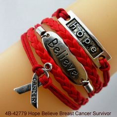 4B-42779 Hope Believe Red Cancer Survival Listing in the Other,Charms & Charm Bracelets,Costume Jewelry,Jewelry & Watches Category on eBid United States