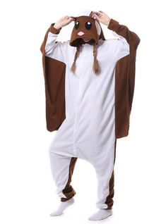 0f117a3e35 Women brown flying squirrel onesie pajama animal