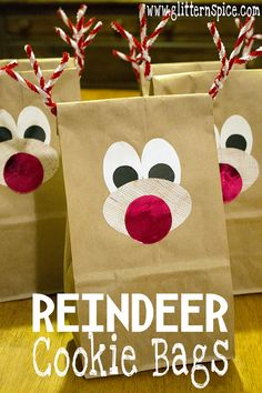Reindeer Cookie Bags #cookieexchange #cookiepackaging