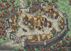 Country Keep : battlemaps Fantasy City Map, Fantasy Town, Fantasy World Map, Fantasy Castle, Fantasy Places, Medieval Fantasy, Fantasy Concept Art, Fantasy Artwork, Village Map