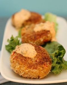 Looks so good.  Can't wait to try! Vegan crab cakes from Olivia Wilde's blog.