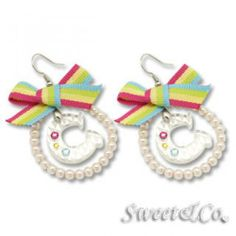 Rainbow Pearly Hoop Swarovski `C` Earrings Silver - One Size