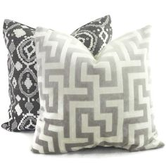 Gray and Ivory Velvet Maze Decorative Pillow Cover 18x18, 20x20 or lumbar pillow, Throw Pillow, Accent PIllow, Toss Pillow by PopOColor on Etsy https://www.etsy.com/listing/191732214/gray-and-ivory-velvet-maze-decorative