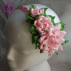 Kanzashi Flowers Pink Roses Headband por RainOfFlowers en Etsy